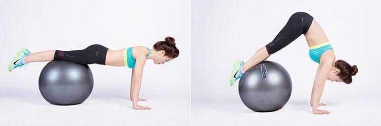 Yoga bóng với bài tập plank
